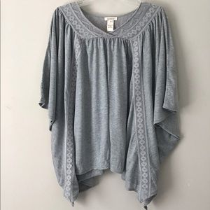 Sundance Poncho Style Top W/Crocheted Lace Sz M